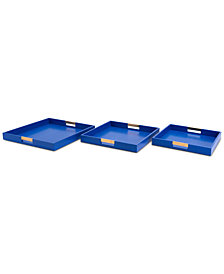 Zuo Camba 3-Pc. Blue Lizard-Embossed Square Tray Set