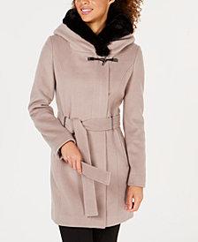 Calvin Klein Belted Faux-Fur-Trim Coat