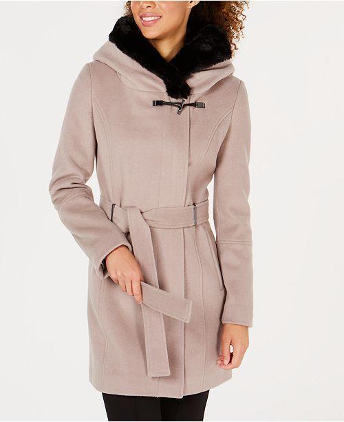 73870416548 Calvin Klein Belted Faux-Fur-Trim Coat   Reviews - Coats - Women ...