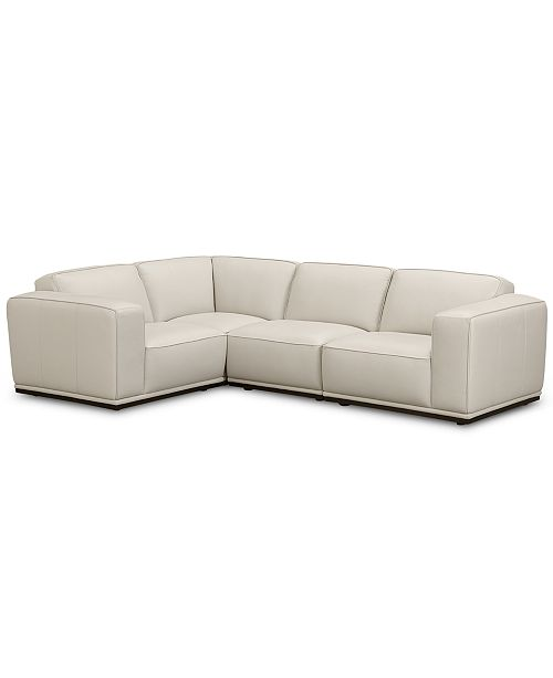 Zeraga 4-Pc. Leather Modular Sectional Sofa, Created For ...