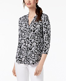 Floral V-Neck Top, Created for Macy's