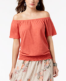 Style & Co Petite Smocked Off-The-Shoulder Top, Created for Macy's