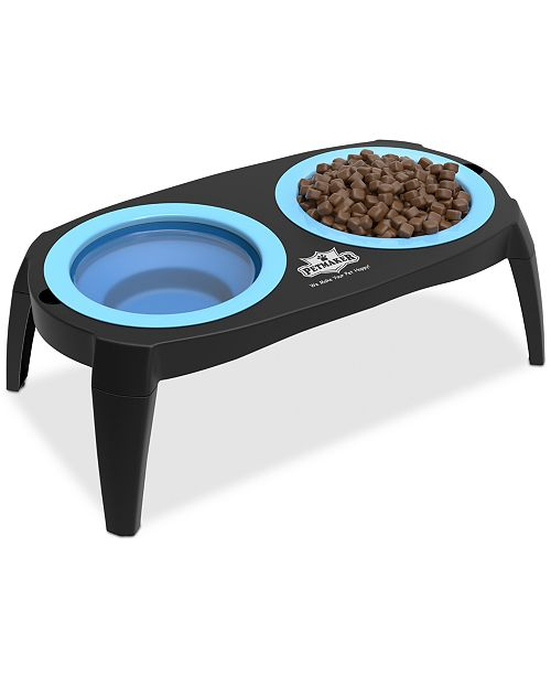 Trademark Global Elevated Pet Bowls with Non Slip Stand for Dogs & Cats-Removable & Collapsible Silicone Feeder