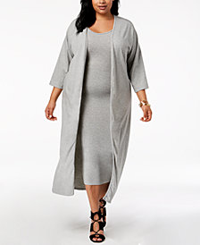 Rebdolls Plus Size Cardigan Tank Dress Set