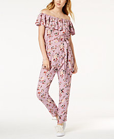 One Hart Off-The-Shoulder Floral Jumpsuit, Created for Macy's