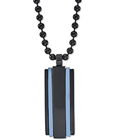 """Men's Two-Tone Dog Tag 22"""" Pendant Necklace in Matte Black & Blue Ion-Plated Stainless Steel"""