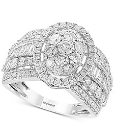 Classique by EFFY® Diamond Oval Cluster Ring (2 ct. t.w.) in 14k White Gold
