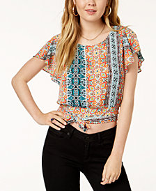 BCX Juniors' Printed Flutter-Sleeved Crop Top