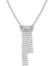 """Steve Madden Beaded Crystal Fringe Pendant Necklace, 36"""" + 4"""" extender"""