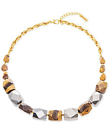 "Steve Madden Two-Tone & Stone Beaded Necklace, 24"" + 3"" extender"
