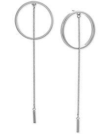 Steve Madden Silver-Tone Ring & Chain Drop Earrings