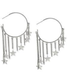 Steve Madden Silver-Tone Star Charm Hoop Earrings