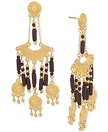 Steve Madden Gold-Tone Beaded Chandelier Earrings