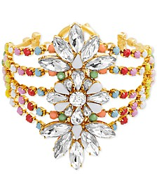 Gold-Tone Crystal & Bead Floral Multi-Row Bangle Bracelet