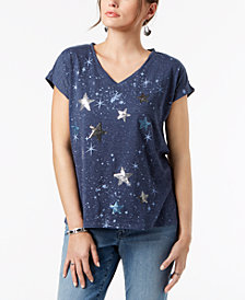 Style & Co Petite Sequin-Embellished Star-Print T-Shirt, Created for Macy's