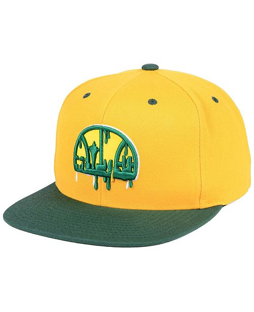 d9d07acaf775 Mitchell   Ness Seattle SuperSonics Dripped Snapback Cap  Mitchell   Ness  Seattle SuperSonics Dripped Snapback ...