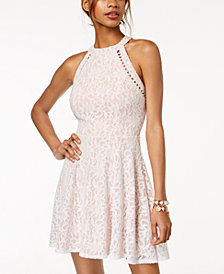 Jump Juniors' Lace Pearl Inset Halter Fit & Flare Dress
