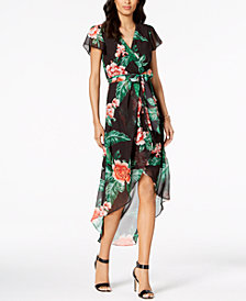 julia jordan Floral Print High-Low Wrap Midi Dress