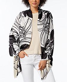 Calvin Klein Graphic Floral-Print Soft Scarf & Wrap