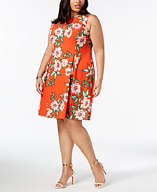 Jessica Howard Plus Size Floral-Print A-Line Dress