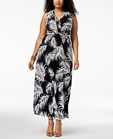 Jessica Howard Plus Size Palm-Print Maxi Dress