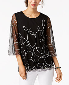 Alfani Embroidered Scallop-Trim Top, Created for Macy's