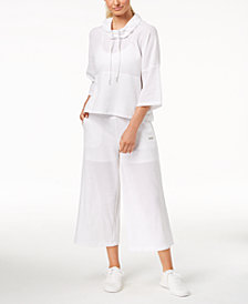 Calvin Klein Performance Cowl-Neck Cropped Top & Wide-Leg Pants
