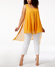 NY Collection Plus Size Chiffon High-Low Tunic