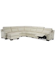 Julius II 6-Pc. Leather Chaise Sectional Sofa With 1 Power Recliner, Power Headrest & USB Power Outlet, Created for Macy's