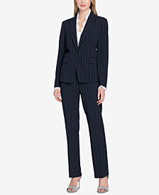 Tahari ASL Lace-Trim Pinstriped Pantsuit, Regular & Petite