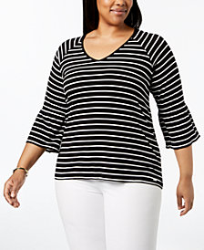 Calvin Klein Plus Size Striped Flare-Sleeve Top
