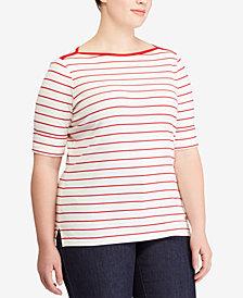 Lauren Ralph Lauren Plus Size Striped Elbow-Sleeve Top