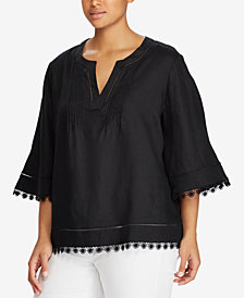 Lauren Ralph Lauren Plus Size Linen Top