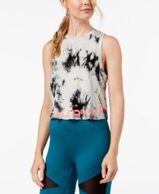 Jessica Simpson The Warmup Juniors Tie-Dyed Logo Crop Tank Top