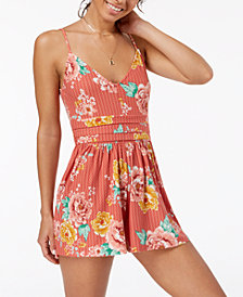 Planet Gold Juniors' Floral-Print Romper