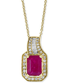 "Amoré by EFFY® Certified Ruby (1 ct. t.w.) & Diamond (1/5 ct. t.w.) 18"" Pendant Necklace in 14k Gold"