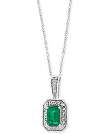 "Final Call by EFFY® Emerald (1/2 ct. t.w.) & Diamond (1/8 ct. t.w.) 18"" Pendant Necklace in 14k White Gold"