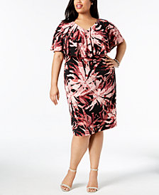 Connected Plus Size Ruffled Sheath Dress