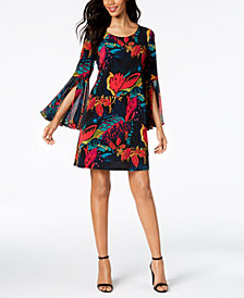 MSK Floral-Print Bell-Sleeve Shift Dress