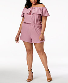 Planet Gold Trendy Plus Size Off-The-Shoulder Romper