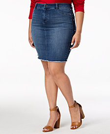 Celebrity Pink Plus Size Embellished Denim Skirt