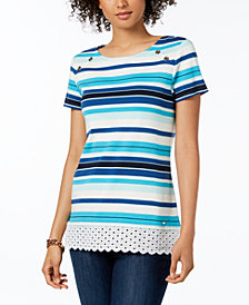 Tommy Hilfiger Cotton Striped Eyelet-Trim Top, Created for Macy's