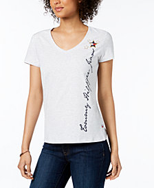 Tommy Hilfiger Logo V-Neck T-Shirt, Created for Macy's