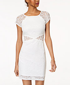 BCX Juniors' Lace Illusion Bodycon Dress