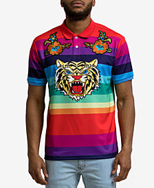 Hudson NYC Men's Striped Graphic Polo