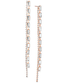Steve Madden Crystal Double-Row Linear Drop Earrings