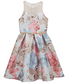 Rare Editions Big Girls Illusion-Neck Mikado Dress