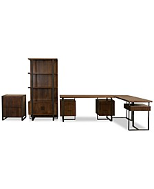 Valencia Home Office, 4-Pc. Set (Double Pedestal Desk, Return Desk, File Cabinet, & Bookcase)