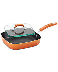 "Rachael Ray Classic Brights Porcelain Aluminum Non-Stick 11"" Square Deep Griddle & Glass Press"