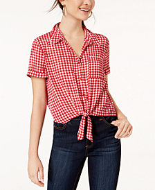 Hippie Rose Juniors' Gingham Tie-Front Camp Shirt